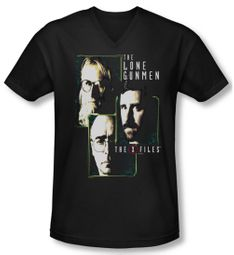 X-Files Shirt Slim Fit V Neck Lone Gunmen Black Tee T-Shirt