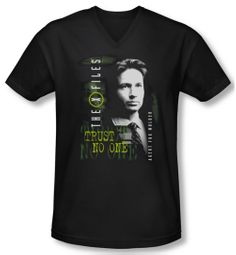X-Files Shirt Slim Fit V Neck Mulder Black Tee T-Shirt