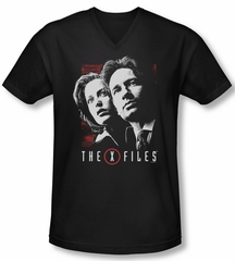 X-Files Shirt Slim Fit V Neck Mulder & Scully Black Tee T-Shirt