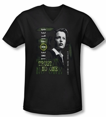X-Files Shirt Slim Fit V Neck Scully Black Tee T-Shirt