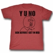 Y U NO Shirt Unfunny Adult Heather Red Tee T-Shirt