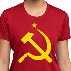 Yellow Hammer And Sickle Ladies Shirts