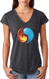 Yin Yang Fire and Water Ladies Yoga Shirts