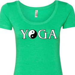 Yin Yang Yoga Text Ladies Shirts