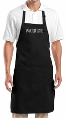 Yoga Apron Warrior Text Full Length Apron with Pockets