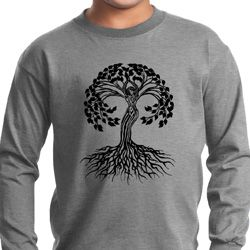 Yoga Black Celtic Tree Kids Long Sleeve Shirt