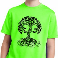 Yoga Black Celtic Tree Kids Moisture Wicking Shirt