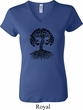 Yoga Black Celtic Tree Ladies V-neck Shirt