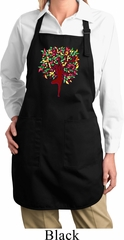 Yoga Foliage Tree Pose Ladies Full Length Apron with Pockets