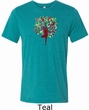 Yoga Foliage Tree Pose Mens Tri Blend Crewneck Shirt