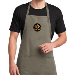 Yoga Gold AUM Patch Mens Full Length Apron with Pockets