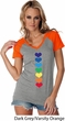 Yoga Heart Chakras Ladies Contrast V-Neck Shirt