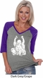 Yoga Laughing Buddha Ladies Three Quarter Sleeve V-Neck Shirt