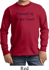 Yoga Namastay Home on the Couch Kids Long Sleeve Shirt