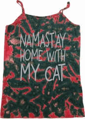 Yoga Namastay Home with My Cat Ladies Tie Dye Camisole Tank Top