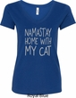 Yoga Namastay Home with My Cat Ladies V-Neck Shirt