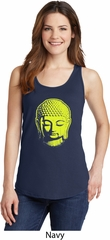 Yoga Neon Yellow Buddha Ladies Tank Top
