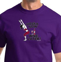 Yoga Now Wine Later Mens Yoga Shirts