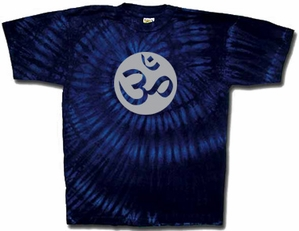 Yoga Shirt OM Aum Meditation Sports Swirl Tie Dye Navy T-shirt