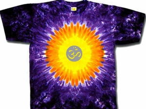 Yoga Shirt OM Symbol Meditation Purple Sun Tie Dye Tee