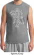 Yoga Tee Sketch Ganesha White Print Muscle Shirt