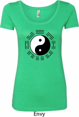 Yoga Ying Yang Trigrams Ladies Scoop Neck Shirt