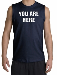 YOU ARE HERE Funny Novelty Adult Muscle Shirt Shooter - Navy