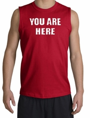 YOU ARE HERE Funny Novelty Adult Muscle Shirt Shooter - Red