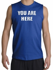 YOU ARE HERE Funny Novelty Adult Muscle Shirt Shooter - Royal