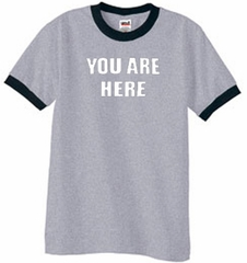 YOU ARE HERE Funny Novelty Adult Ringer T-shirt - Heather Grey/Black