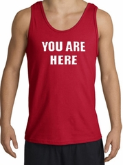 YOU ARE HERE Funny Novelty Adult Tanktop - Red