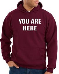 You Are Here Hoodie Maroon Hoody