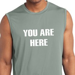 You Are Here Mens Sleeveless Moisture Wicking Shirt