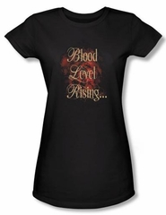 Zombie Juniors T-Shirt Blood Level Rising Black Tee Shirt