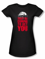 Zombie Juniors T-Shirt They're Coming To Get You Black Tee Shirt