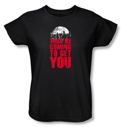 Zombie Ladies T-Shirt They're Coming To Get You Black Tee Shirt