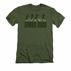 Zombie Shirt Road Adult Military Green Tee T-Shirt