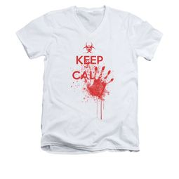 Zombie Shirt Slim Fit V Neck Keep Cal White Tee T-Shirt