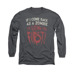 Zombie Shirt You First Long Sleeve Charcoal Tee T-Shirt