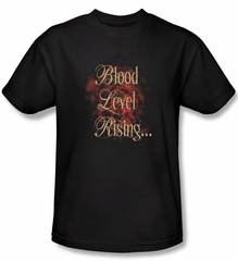 Zombie T-Shirt Blood Level Rising Adult Black Tee Shirt