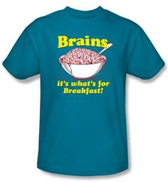 Zombie T-Shirt Breakfast Time Adult Turquoise Tee Shirt