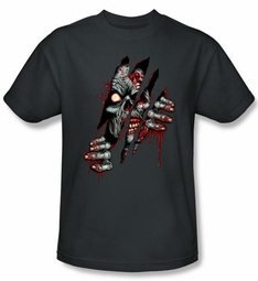 Zombie T-Shirt Clawing Free Adult Charcoal Tee Shirt