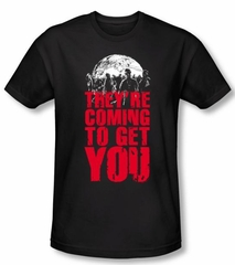 Zombie T-Shirt They're Coming To Get You Black Slim Fit Tee Shirt