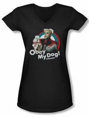 Zoolander Shirt Juniors V Neck Obey My Dog Black Tee T-Shirt