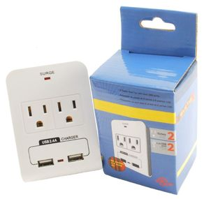 CablesOnline, 2-Outlet 90-Joules Wall Tap w/ Dual-USB 2.4Amp Charging Ports