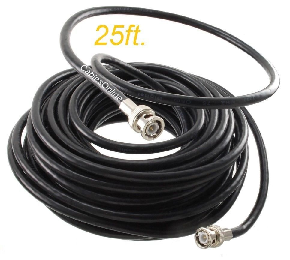 25ft RG6 BNC Male to Male Coaxial Cable