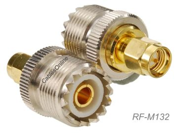 UHF SO-239 Female to SMA Male 50-ohm Coaxial RF Adapter, CablesOnline RF-M132