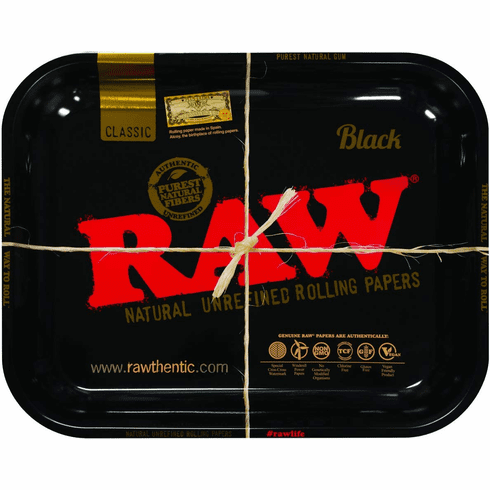 Black Raw Tin Metal Roll-Your-Own Cigarette Rolling Tray