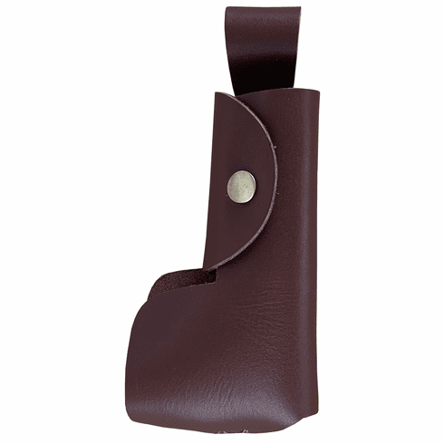 Brown Leather Snap Single Tobacco Pipe Holder w/ Belt Attachment