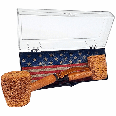 Let Freedom Ring Gift Set of Two Corncob Pipes - 1 Bent & 1 Straight